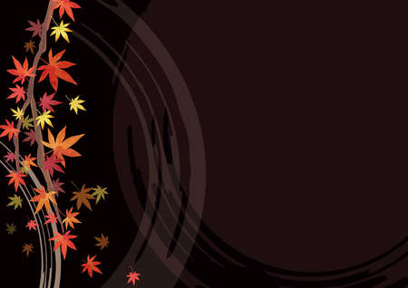 Autumn Background Material. Lacquer. Red leaves, Japanese maple branches. Decoration at the top. Black background (lateral length) Illustration