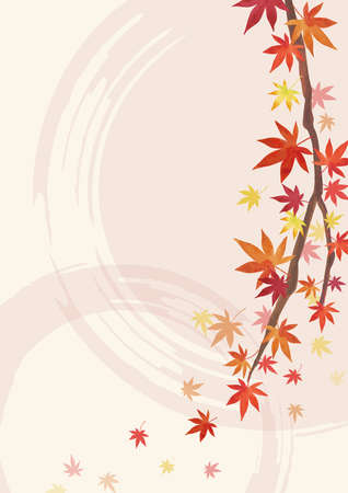 Autumn Backgrounds. Red leaves, maple branches. Decoration on the right. Light Beige and light pink Background (vertically long) Illustration