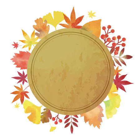 Autumn Leaves. Decorative Frame. Watercolor painting (circular. Vintage Decoration. brown Background)