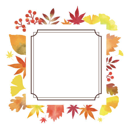 Autumn Leaves. Decorative Frame. Watercolor painting (square. Vintage Decoration. White Background)