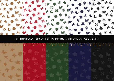 Christmas motif Five color. seamless patterns. Includes swatch patterns data.