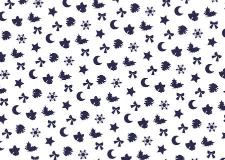 Christmas motif (white background, navy). seamless patterns. Includes swatch patterns data.