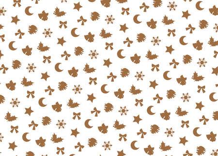 Christmas motif (white background, beige). seamless patterns. Includes swatch patterns data. Illusztráció