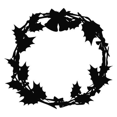 Illustration of a Christmas wreath. Black, silhouette Stock fotó - 157734701
