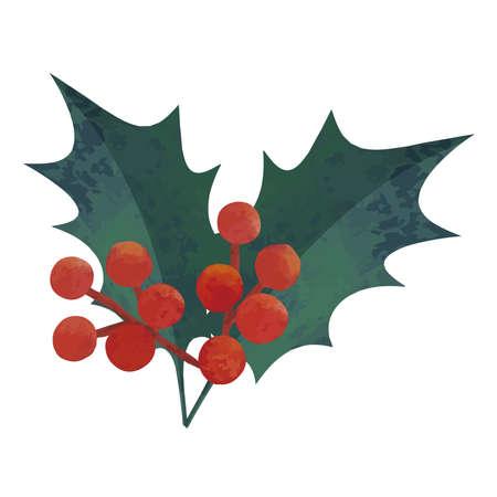 Watercolor illustration of holly. Christmas image. Illusztráció