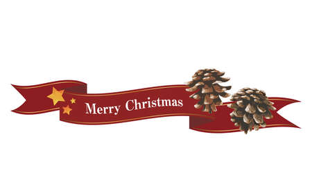 Flowing ribbon and pine cone decorations (red) Christmas decorations Ilustrace
