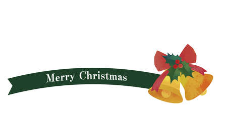 Simple ribbon and bell decoration (green) Christmas decorations