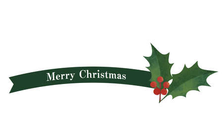 Simple ribbon and holly decoration (green) Christmas decorations