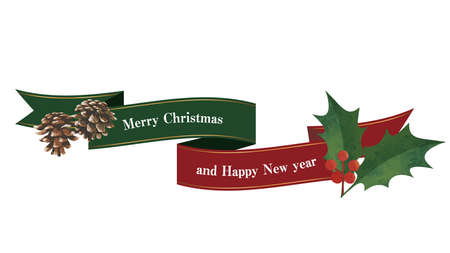 Flowing ribbons, pine cones and holly decorations. Christmas decorations.