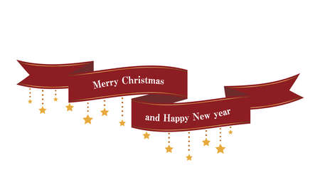 Flowing ribbon and star sparkle decorations (red) Christmas decorations