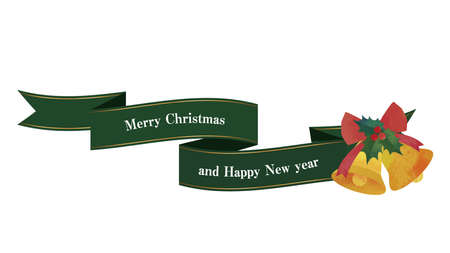 Flowing ribbon and bell decorations (green) Christmas decorations