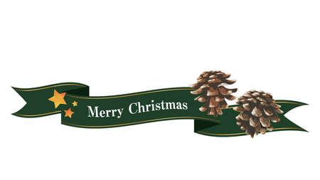 Flowing ribbon and pine cone decorations (green) Christmas decorations Ilustrace