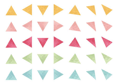 Watercolor Shape. Triangle. 5 colors set.