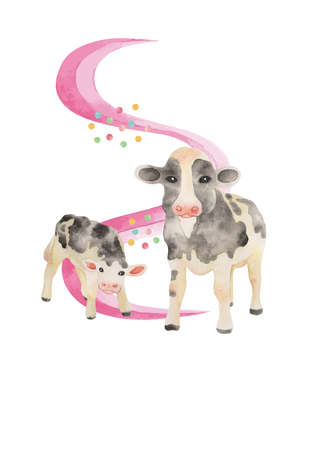 New Year's Cards 2021. Parent and child of cow. Watercolor illustration. Postcard Template. (Illustrations only)