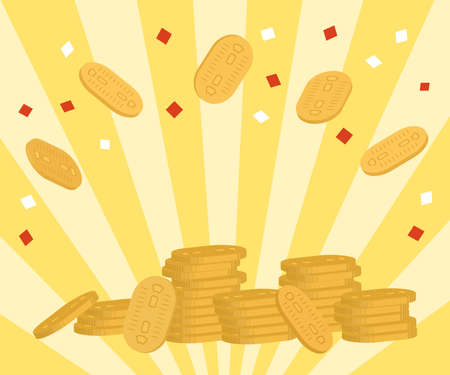 Japanese old money,Heaps of oval coins are placed and confetti flying. Yellow ray, Bright image. 300×250px ratio banner (copy space in the center) Illusztráció