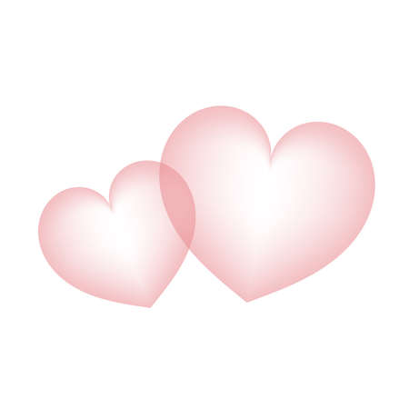 The two hearts are close together. Illustration of Affection.