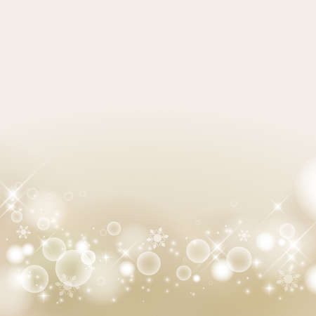 Abstract background of winter images, snowflakes. Glittering and luxury. champagne gold. (decoration at the bottom)