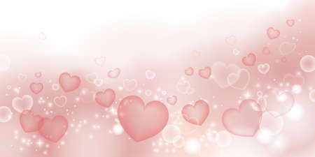 Heart and fluffy-filled material  background. 2:1 ratio (decoration at the bottom)