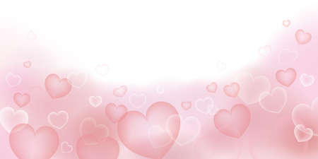 Heart-filled material background. 2:1 ratio (decoration at the bottom)