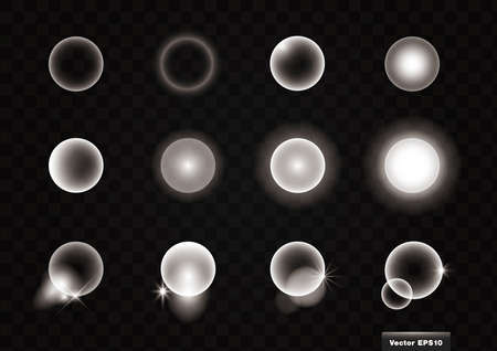 Round light material, 12 kinds. Vector illustration set