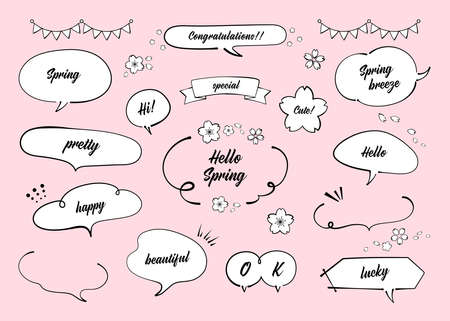 Illustration of spring speech bubble materials. Cherry blossom. Pen drawing, Ink. Like Handwriting lines with strength (black line drawing, with text) Illusztráció