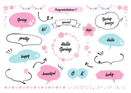 Illustration of spring speech bubble materials. Cherry blossom. Pink and Light Blue. Refreshing colors of spring (with text) Illusztráció