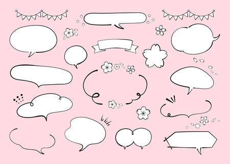 Illustration of spring speech bubble materials. Cherry blossom. Pen drawing, Ink. Like Handwriting lines with strength (black line drawing, no text, blank, copyspace)