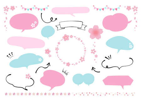 Illustration of spring speech bubble materials. Cherry blossom. Pink and Light Blue. Refreshing colors of spring (no text, blank, copyspace)