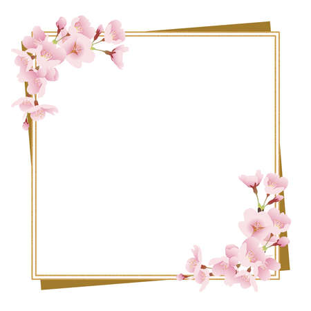Cherry blossoms and gold frame (Japanese style, square)