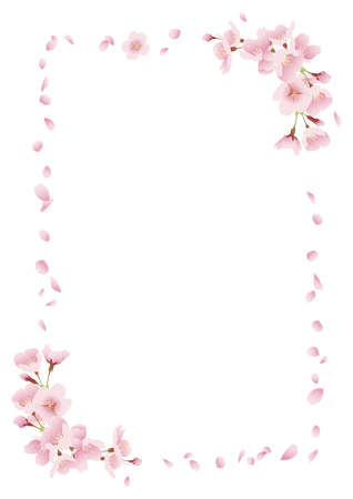 Cherry blossom background material, title frame (white background, vertically long A3,A4 ratio)