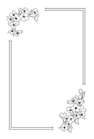 Cherry blossom line drawing, Taisho romantic, retro Japanese style background material (100x148mm postcard size ratio) Ilustração Vetorial