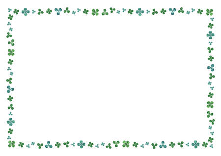Clover Watercolor illustration material. enclosure decorative Frame (lateral length A3,A4 ratio)