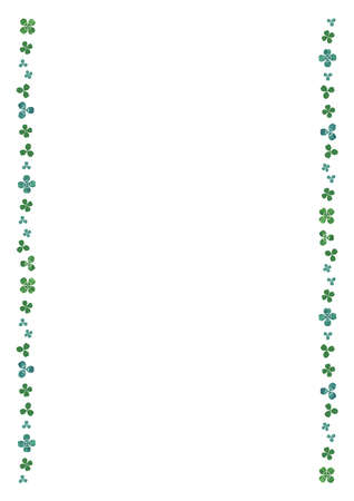 Clover watercolor illustration. left and right decorative design frame (vertically long A3,A4 ratio)