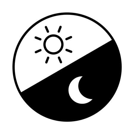 Morning and night image Round icon. From top left, morning and night (line art, black)