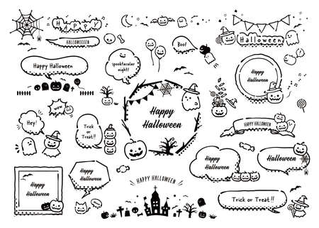 Halloween's speech Balloon collection. Black and white, line drawing, comic, cartoon (With text)
