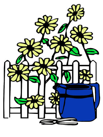 little blue watering can with pretty yellow flowers Zdjęcie Seryjne - 4229801