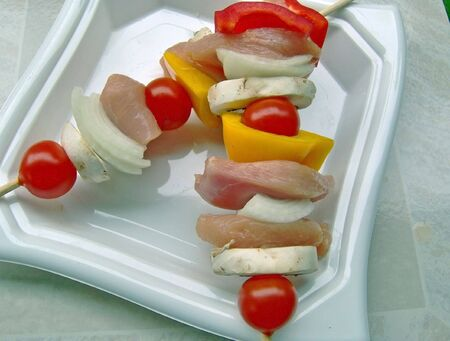 tasty chicken kebabs ready for the grill