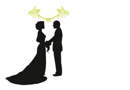 bride silhouette: silhouette of a bride and groom under doves