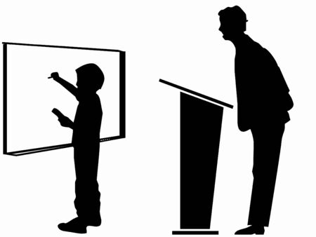 silhouette of a teacher and student
