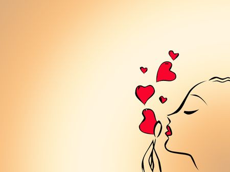 silhouette of a woman's face blowing heart bubbles
