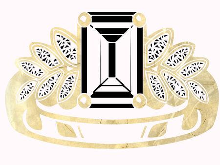 pretty gold and diamond ring Illustration