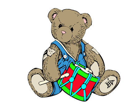 a cute little teddy bear with a drum Illustration