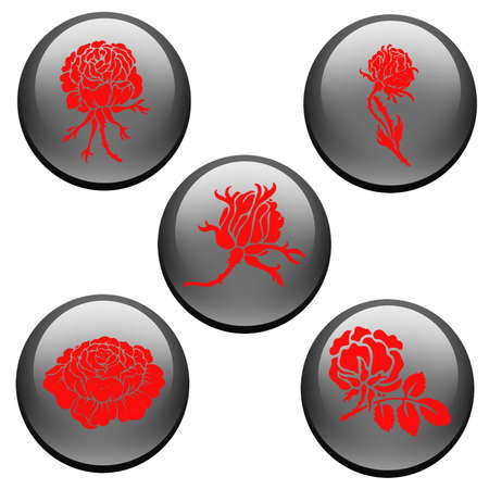 ボタンのアイコンにはかなり赤いバラ  イラスト・ベクター素材