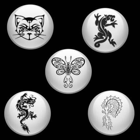 tribal animals on button icons