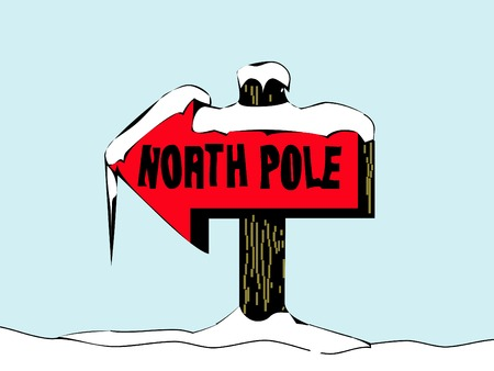 north pole sign: bright red north pole sign