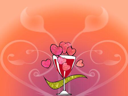 Un verre à vin avec le coeur rose et or sur le joli ruban fond Banque d'images - 4282772