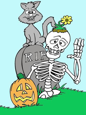 funny skeleton getting out of his grave Illusztráció