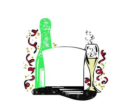 fin de a�o: sombrero de copa de champagne y v�speras de a�o nuevo