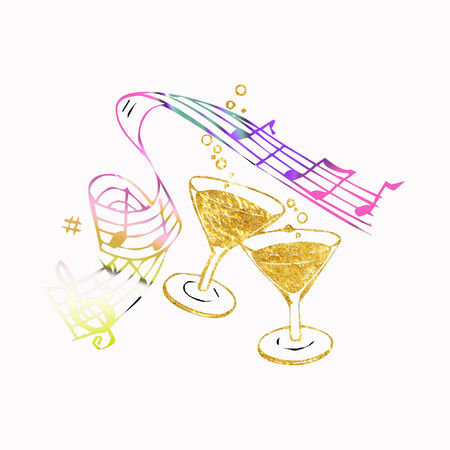 drink glasses and music notes