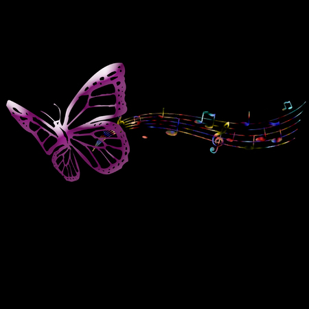 a butterfly and music notes done in rainbow colors Illustration